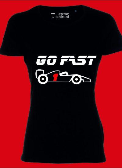 T-shirt Go Fast formule 1 zwart dames