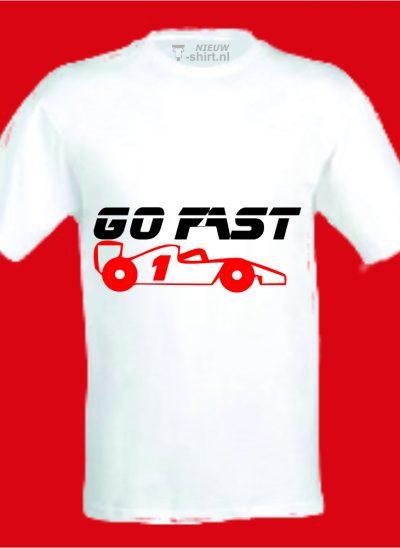 T-shirt Go Fast formule 1 wit
