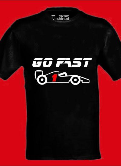 T-shirt Go Fast formule 1 zwart