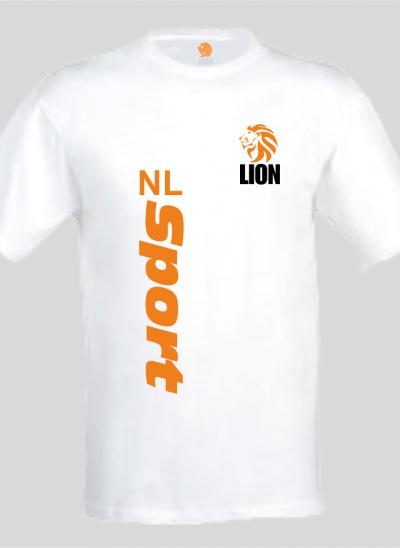 Lion T-shirt heren wit NL Sport