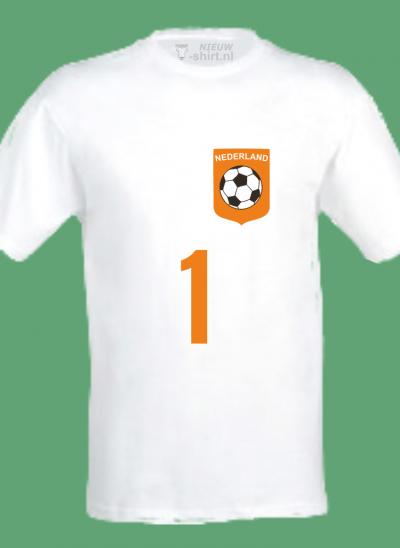 NieuwT-shirt voetbal Nederland unisex - heren - wit - voorkant