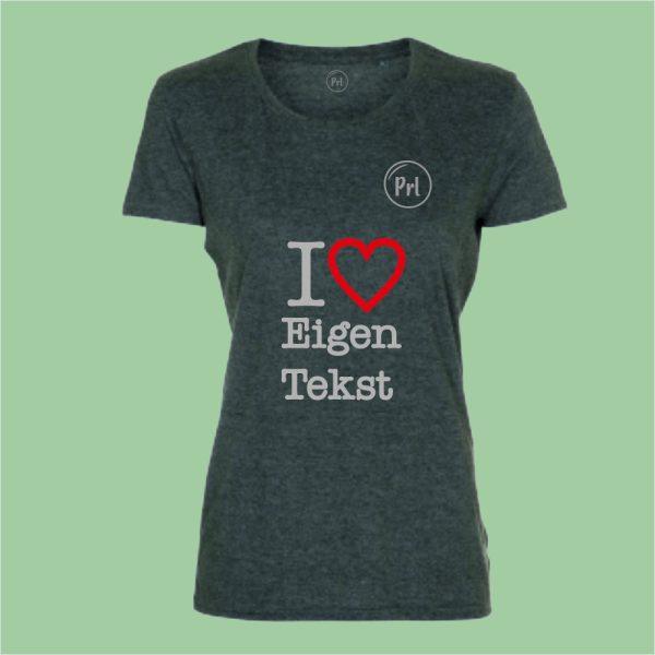 NieuwTshirt Prl T-shirt I Love dames heather green