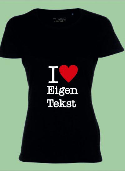 NieuwTshirt T-shirt I Love dames zwart