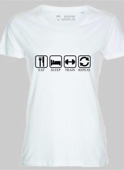 T-shirt eat sleep train repeat dames wit