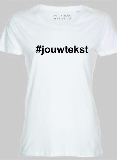 NieuwTshirt hashtag Tshirt wit dames