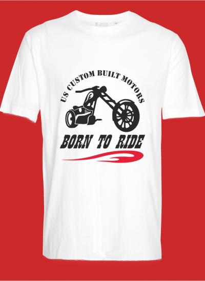T-shirt americana born to ride custom build motors regular wit