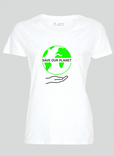 T-shirt save our planet wit dames