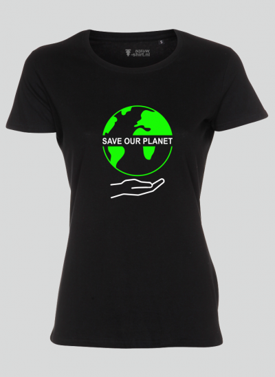 T-shirt save our planet zwart damesmodel