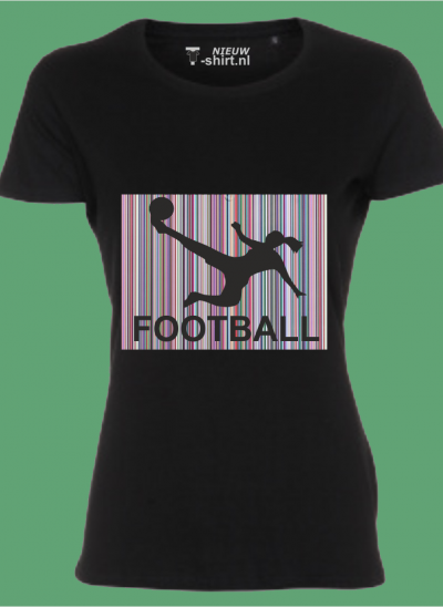 NieuwT-shirt voetbal silhouette zwart dames