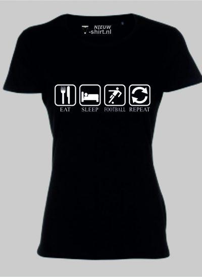 T-shirt Eat Sleep Football Repeat dames - zwart