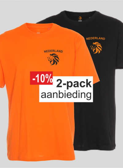 T-shirt Nederland oranje Nederlands elftal zwart 2-pack merk Lion