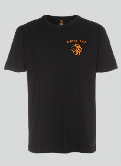 T-shirt Nederland zwart met oranje - Nederlands elftal - merk Lion