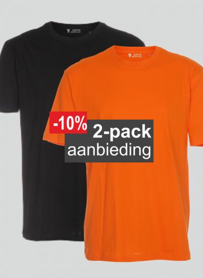 T-shirt aanbieding 2-pack mix oranje en zwart regular unisex maten