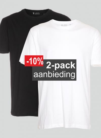 T-shirt 2-pack mix wit en zwart aanbieding