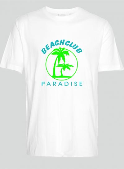 T-shirt beachclub paradise wit regular