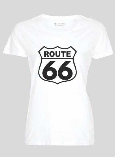 T-shirt americana T-shirt route 66 wit dames