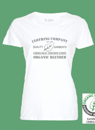 T-shirt organic blended clothing company wit dames